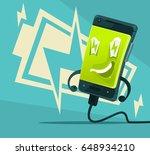 happy smiling smart phone... | Shutterstock .eps vector #648934210