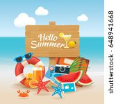 hello summer time travel season ... | Shutterstock .eps vector #648941668