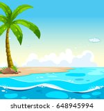 ocean scene with tree on the... | Shutterstock .eps vector #648945994