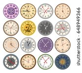 colorful clock faces vintage... | Shutterstock .eps vector #648949366
