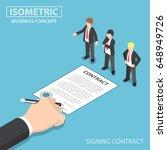 flat 3d isometric businessman... | Shutterstock .eps vector #648949726