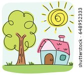 cartoon lovely house with tree. | Shutterstock .eps vector #648952333