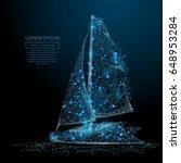Polygonal Sailing Yacht. Sea...