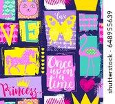cute seamless princess pattern... | Shutterstock .eps vector #648955639