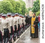 Small photo of KYIV, UKRAINE - May 26, 2017: Ceremony on the occasion of the end of the academic year in the Kiev military lyceum of Ivan Bohun.