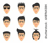 hairstyles set. mens hairstyles ... | Shutterstock .eps vector #648964384