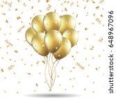 gold balloons and confetti on a ... | Shutterstock .eps vector #648967096