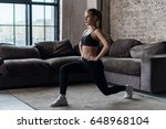 pretty fit woman doing frontal... | Shutterstock . vector #648968104