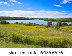pond with houses scattered around behind a field of yellow goldenrod - stock photo