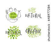 set of 4 vector eco  bio green... | Shutterstock .eps vector #648977284