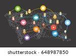social media abstract network... | Shutterstock .eps vector #648987850