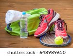 the composition of sports... | Shutterstock . vector #648989650