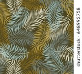 tropical pattern with palm... | Shutterstock .eps vector #648992758