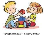 children play with blocks   Shutterstock .eps vector #648995950