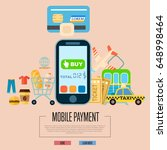 mobile payment concept vector... | Shutterstock .eps vector #648998464