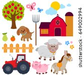farm set with animals  donkey ... | Shutterstock .eps vector #649002994