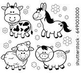 farm animals  a cow  a horse  a