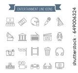 set of 20 entertainment line... | Shutterstock .eps vector #649006324