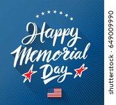 Happy Memorial Day Lettering O...