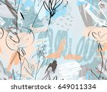 doodles with grunge texture... | Shutterstock .eps vector #649011334
