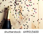 pair glass of champagne. flutes ... | Shutterstock . vector #649015600