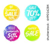 set of colorful summer sale ... | Shutterstock .eps vector #649016284