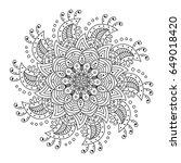 vector flower mandala.... | Shutterstock .eps vector #649018420