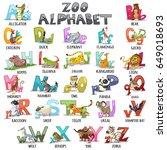 alphabet for kids. abc animals... | Shutterstock .eps vector #649018693