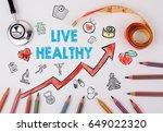 live healthy concept. healty... | Shutterstock . vector #649022320