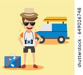 young man traveler car road... | Shutterstock .eps vector #649026748