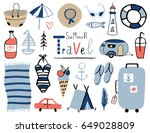 summer set with hand drawn... | Shutterstock .eps vector #649028809