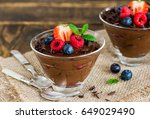 chocolate avocado mousse with... | Shutterstock . vector #649029490