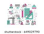 construction project line icons ... | Shutterstock .eps vector #649029790