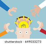 hands pick bulb idea in human...   Shutterstock .eps vector #649033273