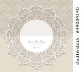 vintage round frame  paper lace ... | Shutterstock .eps vector #649034140