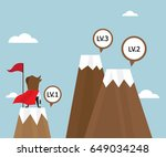 businessman success on top of... | Shutterstock .eps vector #649034248