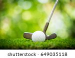 golf ball and putter on green | Shutterstock . vector #649035118