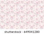 cute pink rabbit cartoon... | Shutterstock .eps vector #649041280