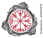 viking design. magical runic... | Shutterstock .eps vector #649043470