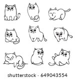 Stock vector set of cute doodle cats in simple design for kid s greeting card design t shirt print 649043554