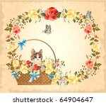 Vintage Greeting Card With Cat...
