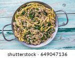 pasta with tuna and spinach on... | Shutterstock . vector #649047136
