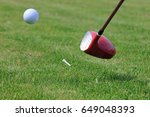 golf driver club hitting ball... | Shutterstock . vector #649048393