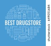 medical  drugstore poster... | Shutterstock .eps vector #649051684