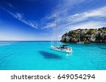 beautiful bay with sailing... | Shutterstock . vector #649054294