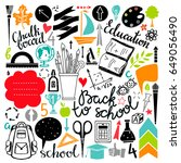 back to school icons hand drawn ... | Shutterstock .eps vector #649056490