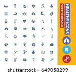 health care icon set clean... | Shutterstock .eps vector #649058299