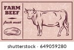 label of meat products. beef | Shutterstock .eps vector #649059280