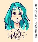 vector hand drawn girl power... | Shutterstock .eps vector #649061728