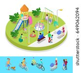 isometric city park composition ... | Shutterstock .eps vector #649062094
